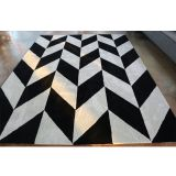 Black And White Color Chevron Pattern Carpet Stereoscopic Area Rugs For Living Room
