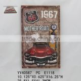 Route us 66 embossed metal tin signs, Decorative wall hanging tin signs, Retro looking tin signs
