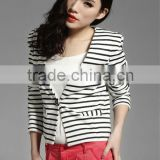White and black stripe short style casual wear ladies suit