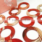 factory price 35mm flat White Rhodonite Red gemstone donut stones stone donut stripping guide rings