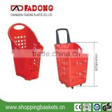 Plastic Hand Shopping Rolling Basket Supermarket Trolley