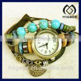 fashion leather strap watch*multi charms and beads leather bracelet watch