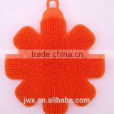 Orange soft silica body washing brush with flower shape