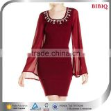 jewel embellished bandage dress red bridesmaids square neck wedding dress short bell flowing long sleeve dresses cocktail