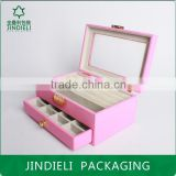 pink beautiful fashion leather wooden drawer jewelry box with pvc window