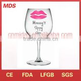 Attractive price wine glass sippy cup with red lips