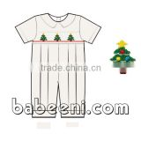 Cute X-mas trees hand smocked baby boy long bubble