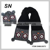 promotional lovely animal style pattern knitted acrylic children scarf and hat set