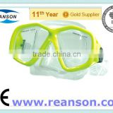 Professional Tempered Glass Diving Mask Snorkel With One Piece Glass Lens