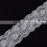 hot sale jacquard white nylon/cotton stretch elastic lace trim, lace trimming for underwear for lingeria wide 6cm