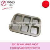 YG-110622 0.4mm carbon steel golden nonstick coating 6 cavities square cupcake baking pan