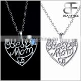 "Silver Tone ""Best Mom"" Stars Love Heart Glow in Dark Flashing Necklace Halloween Holiday Gifts"
