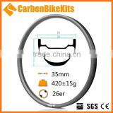 CarbonBikeKits clincher mountain carbon rims 26er 25mmx35mm rims road hubs mtb carbon S-AM26-35