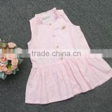 Guangzhou produce hot pink dresses baby girls dresses hot selling design with button childrens' dresses