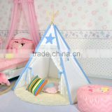 4-Walls LACE and Blue Star applique Teepee Kids Tent Wigwam Indoor Tipi Playhouse Playroom