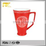 Drinkware gold rim glazed ceramic custom embossed mug, 550ml ceramic mug, embossed logo ceramic mug
