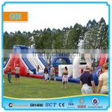 Giant inflatable combo with barrier and slide