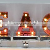 "LED indoor Decorative light Peace signs & letters / ANTIQUE GREY LED WOODEN SENTENCE ""PEACE"""