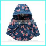 wholesale autumn hooded jacket baby girl jeans jacket                                                                         Quality Choice
