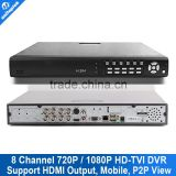 H264 HD-TVI DVR With Remote View 8 Channel 1080P/720P Recorder DVR Support Mobile P2P View
