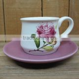 Artistic ceramic breakfast cup and saucer set