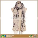 Women's long fashion beautiful ink floral printing twill silk viscose cool summer scarf