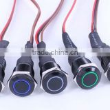 16mm black color Red Green Orange White Blue Ring Illuminated metal LED push button switch with wire cable