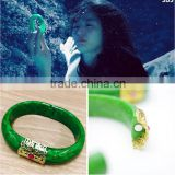 New fashion beautiful korean magnet clasp red crystal gold green resin imitation jade bangle bracelet Legend of the blue sea