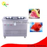 High Quality Double Pan Fry Ice Cream Machine / Multi-functional Flat Pan Frying Ice Pan Machine
