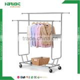 mobile folding chrome display garment rack retail portable used custom clothing rack with wheels for sale