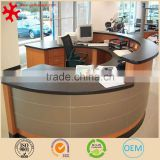 Modern solid wood semi-circle office furniture cheap reception desk