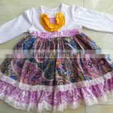 XF-019 Wholesale baby girls floral boutique child clothes kids knit cotton ruffle lace dresses fall vintage frocks design