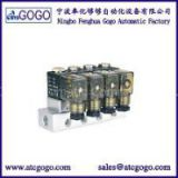 2 way direct acting liquid mini aluminum alloy solenoid valve manifold 4pcs for Medical 1/4 1/8 BSP plug