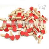 50 Pcs Set Natural Wood Clip With Red Heart For Clothes Photo Paper