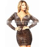 Fall Clothing for Women China Supplier Cheap wholesale leopard print Party deep v Bandage Bodycon Dress