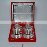 Silver Plated Engraved Brass Tea Coffee Cups & Plated Set Of Four Piece With Serving Tray