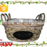S/3 new product willow&rush garden tool basket, garden basket, plant pot, garden flower pot with plastic liner