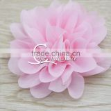 Petite pink chiffon flower, chiffon flower, flower puff, material flower, headband flower, DIY supplies, fabric flower