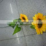 silk middle size two heads aritificial sunflower with green leaves bouquet home decoration