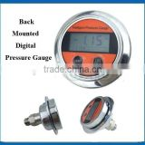 Battery supply back mounted digital gas gauge pressure with lcd display and front pannel