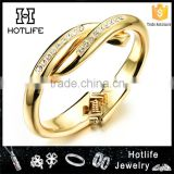 copper jewellery rhinestone setting 18K gold plated women bangle                                                                         Quality Choice