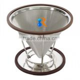 trade assurance 18/8 stainless steel reusable fine mesh pour over cone filter coffee maker