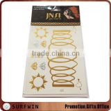 2015 factory price gold silver fashion flash temporary tattoo sticker