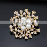 2015 Fashion Hot seller Chic elagant jewelry wedding simple brooch silver&gold snowflake pearl crystal rhinestone brooch pin