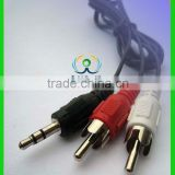 3.5mm plug to speaker wire Mini Audio Plug to 2 RCA Stereo Male Adapter Converter Cable For PC 9996