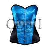 Overbust corset in black and blue satin Ci-1167