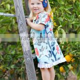 cotton summer boutique outfits with bird and tree print children girl lace ruffle dress clothing