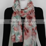Acrylic Lady Printed Scarf with Pink Flower