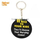 Trendy and fashional keychain accessory round shape PVC Rubber supplier PVC Rubber Keychain/keyring/key tag