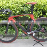 2013 new red/black TT bike, carbon time trial bicycle frame&fork&seatpost 700C road bike wheels                                                                         Quality Choice